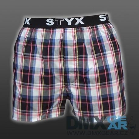 STYX UNDERWEAR bavlněné černo-modro-růžové kostkované pánské trenýrky Sport B415 Velikost XL