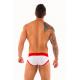 AWARE SOHO bílé pánské slipy Logo Briefs 92 s červenou gumou