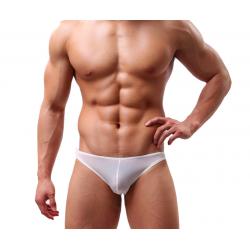 BRAVE PERSON pánské bílé průhledné slipy Ultra Thin Pure
