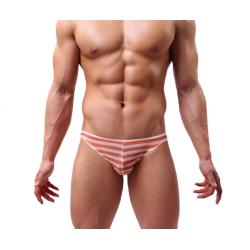 BRAVE PERSON pánské průhledné oranžovo-bílé pruhované slipy Ultra Thin Stripe