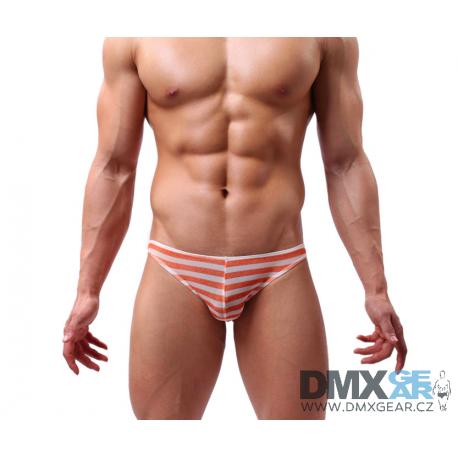 BANDI DAS pánské průhledné oranžovo-bílé pruhované slipy Ultra Thin Stripe