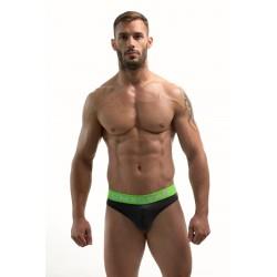 DMXGEAR pánská luxusní šedá tanga Anatomically Fit Thong se zelenou gumou v pase
