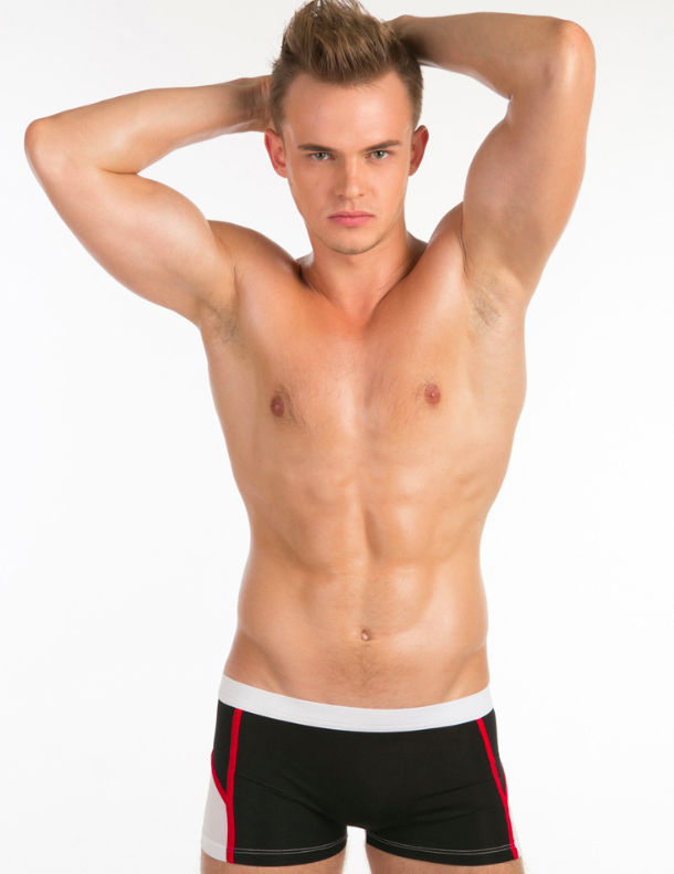 Levně MIBOER bílo-černé pánské boxerky a boxerkové plavky Shape