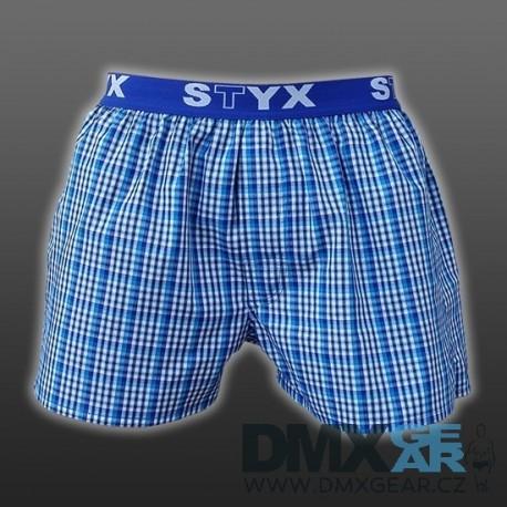 STYX UNDERWEAR bavlněné světle modré kostkované pánské trenýrky Sport B434 Velikost M
