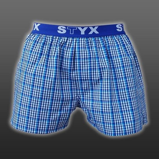 STYX UNDERWEAR bavlněné světle modré kostkované pánské trenýrky Sport B434