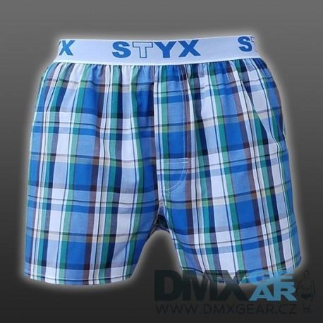 STYX UNDERWEAR bavlněné bílo-modré modré kostkované pánské trenýrky Sport B432
