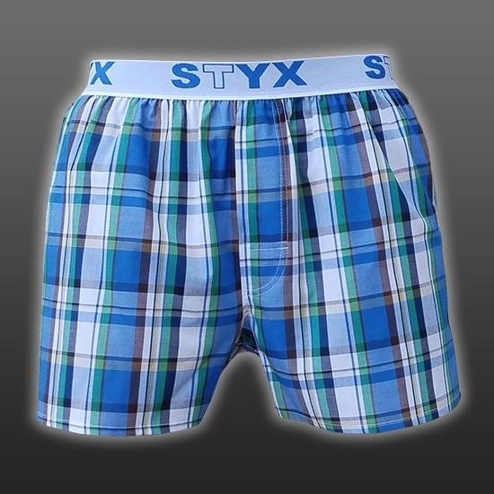STYX UNDERWEAR bavlněné bílo-modré modré kostkované pánské trenýrky Sport  B432 d3fb593f2b