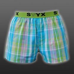 STYX UNDERWEAR bavlněné zeleno-růžovo-modré modré kostkované pánské trenýrky Sport B431