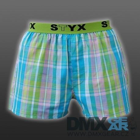 STYX UNDERWEAR bavlněné zeleno-růžovo-modré modré kostkované pánské trenýrky Sport B431 Velikost M