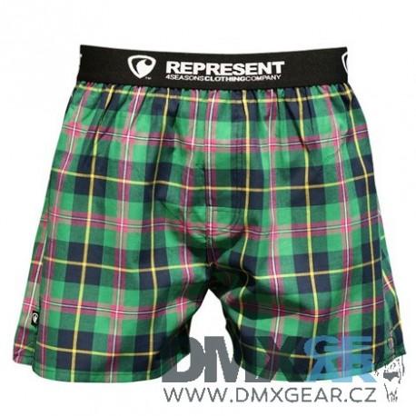 REPRESENT pánské bavlněné zelené kostkované trenýrky Mikebox 15233