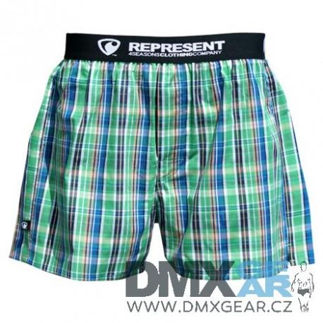 REPRESENT pánské bavlněné zeleno-modro-oranžové trenýrky Mikebox 15251 Velikost L