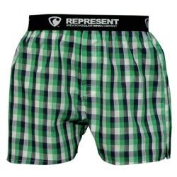 REPRESENT pánské bavlněné šedo-zelené kostkované trenýrky Mikebox 15261