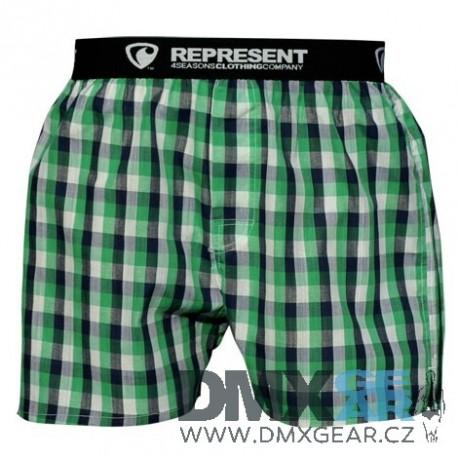 REPRESENT pánské bavlněné šedo-zelené kostkované trenýrky Mikebox 15261 Velikost L
