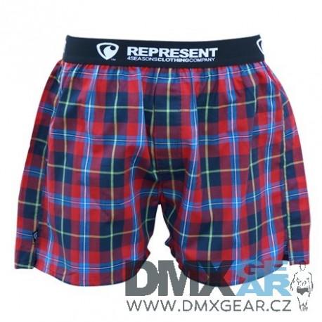 REPRESENT pánské bavlněné červeno-modré kostkované trenýrky Mikebox 15249 Velikost L