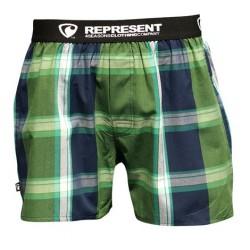 REPRESENT pánské bavlněné tmavě zelené kostkované trenýrky Mikebox 15250