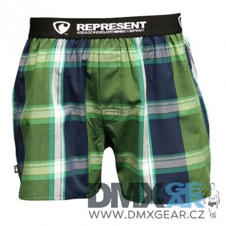 REPRESENT pánské bavlněné tmavě zelené kostkované trenýrky Mikebox 15250 Velikost L
