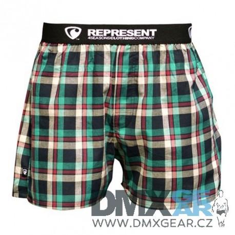 REPRESENT pánské bavlněné zeleno-červené kostkované trenýrky Mikebox 15244