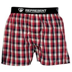 REPRESENT pánské bavlněné červeno-černo-bílé kostkované trenýrky Mikebox 15260