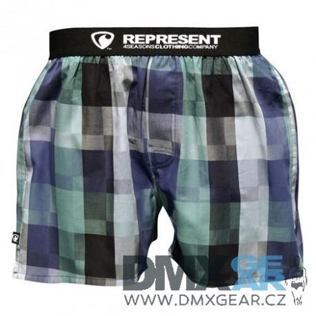 REPRESENT pánské bavlněné modro-zelené kostkované trenýrky Mikebox 15253