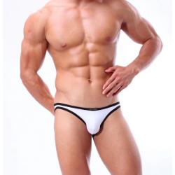 BRAVE PERSON pánské bílé bokové slipy i plavky současně Swim s černým lemováním