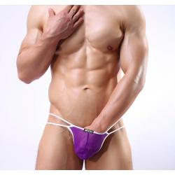 JJ SOX fialová pánská tanga Net s bílou gumou v pase