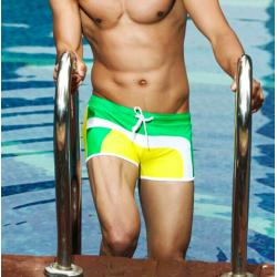 AQUX plavky boxerkové žluto-zeleno-bílé Beach Sun
