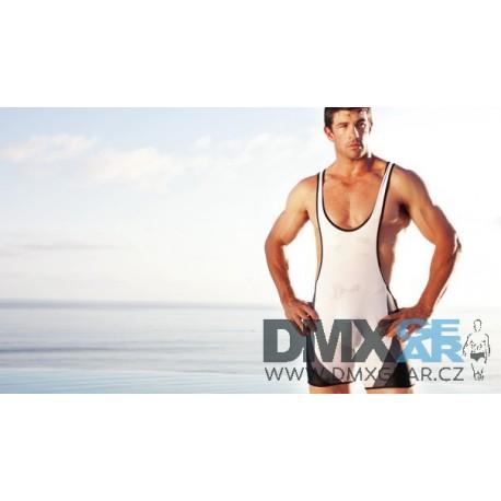 AUSSIEBUM sportovní elasťáky a plavky v jednom černo-bílo-šedé Wrestleme Everybody