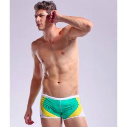 DESMIIT plavky zeleno-žluto-bílé boxerkové Golf