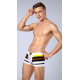 MANVIEW boxerky bílé s hnědým a žlutým pruhem