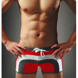 AQUX plavky boxerkové červeno-hnědo-bílé Beach Ground